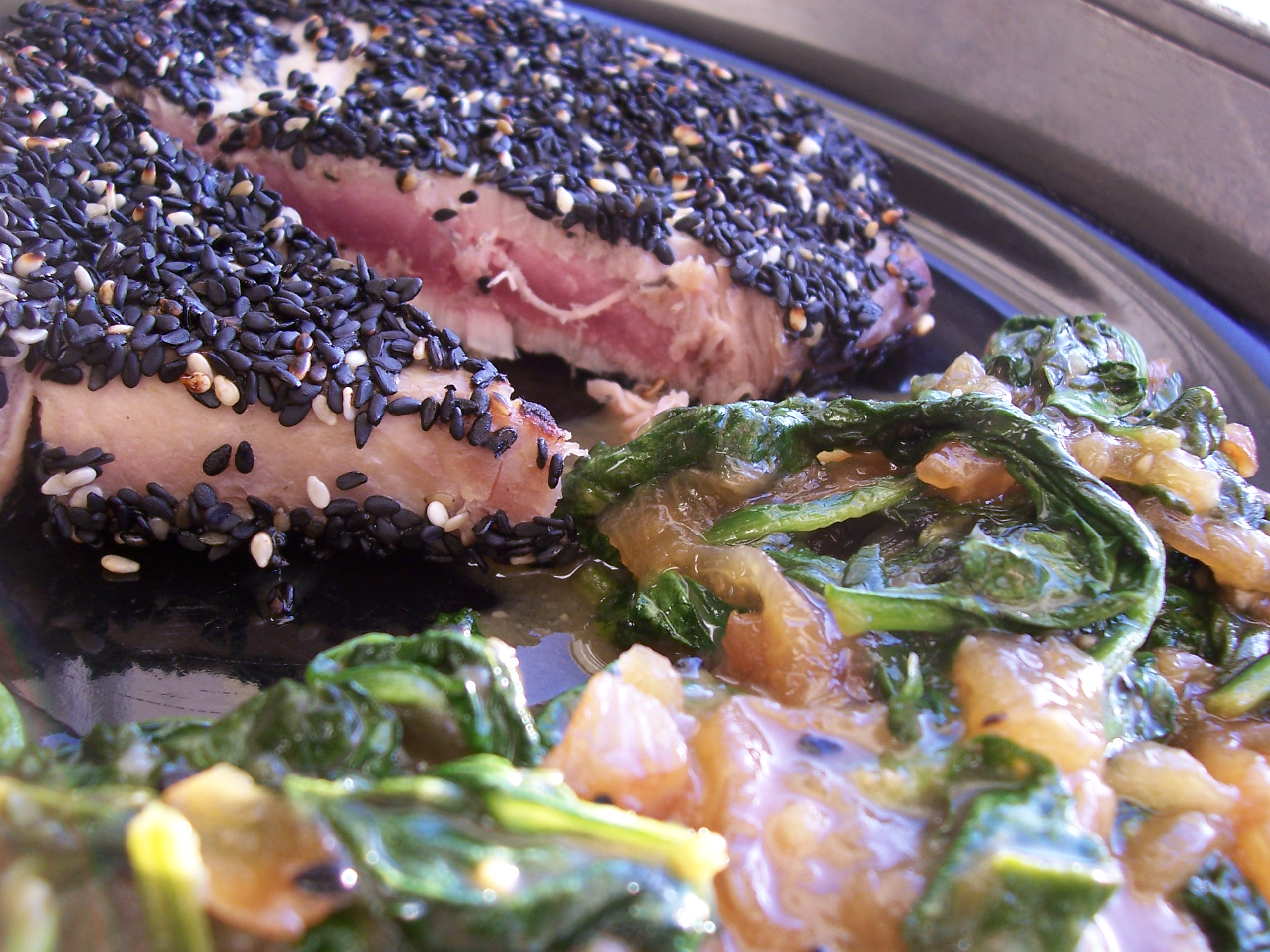 Seared sesame crusted yellowfin tuna with miso glazed spin… | Flickr ...