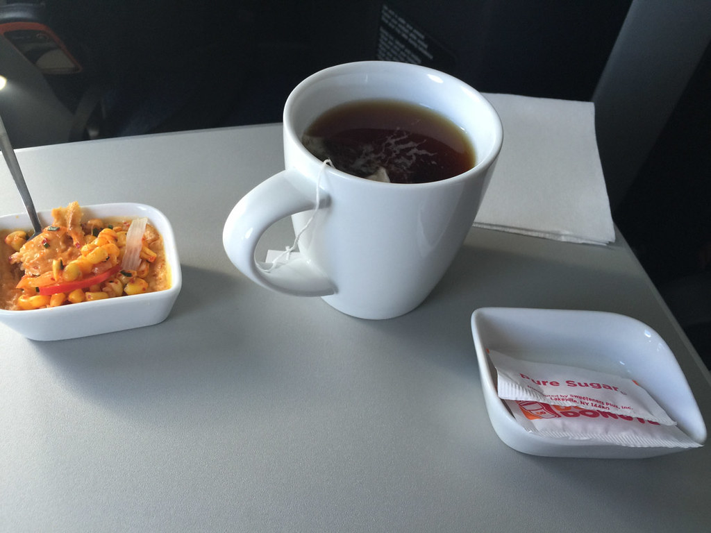 Corn salad and Tea in Jetblue Mint Class