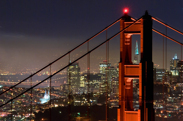 Golden Gate Bridge and San Francisco at night