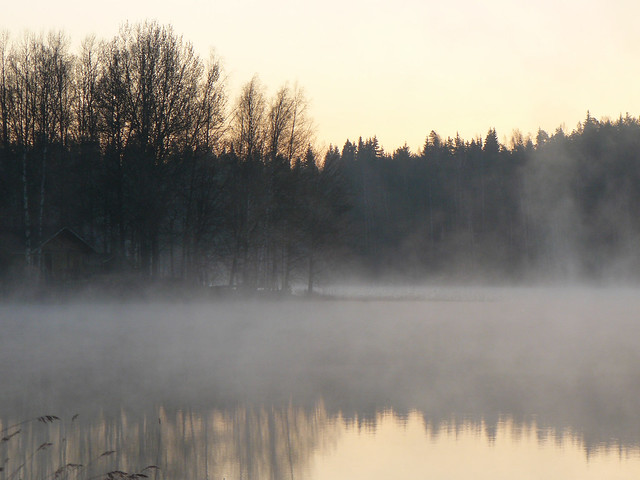 Cabaña, lago y bruma