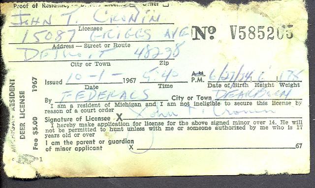 1967 michigan resident deer hunting license explore for Michigan fishing license online