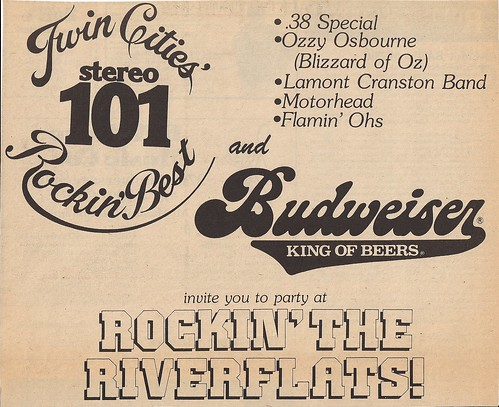 05/25/81 Rockin The RiverFlats Jam @ St. Paul, MN (Ad - Top Half)