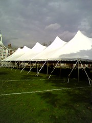 Tent under cloudy skies