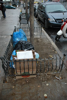 Commercial Trash Dumped in Tree Pit on Cortelyou Road