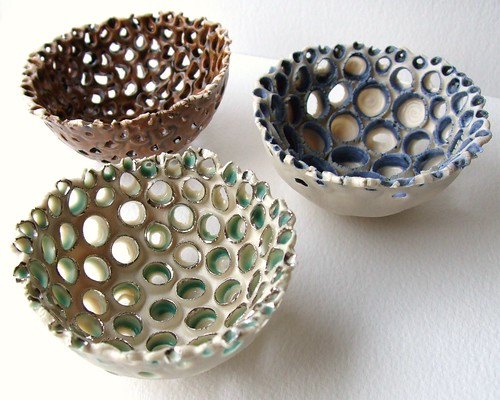Trio of mini coral bowls