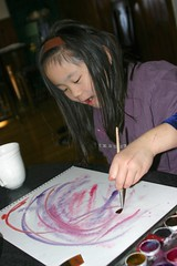 Sophia Doing Wet-on-Wet Watercolor Painting