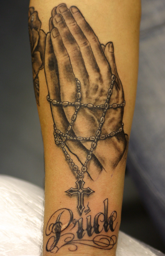 rosary beads and praying hands tattoo a photo on flickriver. Black Bedroom Furniture Sets. Home Design Ideas