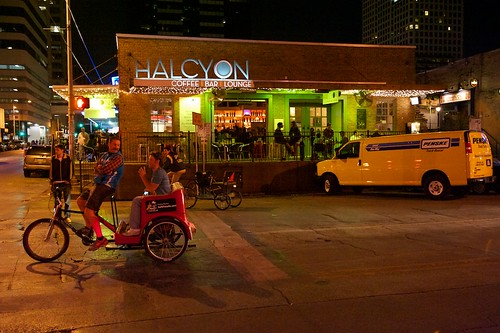 Nighttime at Halcyon Coffee Bar in Austin, Texas