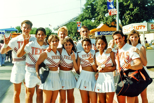 Texas Longhorn Cheerleaders after football game, State Fair of Texas