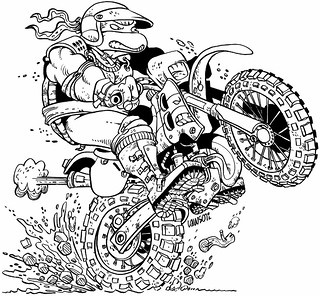 "Peter Laird's 'Blast from The Past'  # 18 :: ""Team Mirage"" - 'Hare Scrambles Turtle' by Jim Lawson (( 1992 ))  [[ courtesy of Peter Laird ]]"