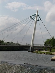 Carol over the Arkansas River in Wichita