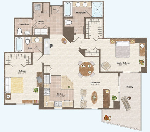 Two bed room condo floor plan 7 flickr photo sharing for Condominium plan