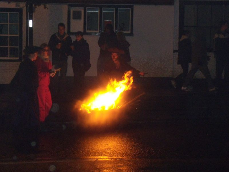 black bogey These are little bonfires on wheels, fuelled by discarded torches. Battel Bonfire Boyes procession. Robertsbridge to Battle walk..