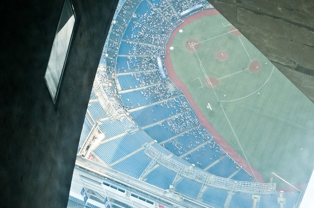 CN Tower Glass Floor Looking Down On Rogers Centre Viewin