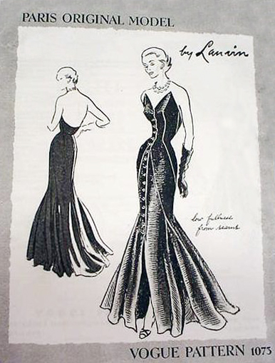 1940s Lanvin strapless evening dress pattern - Vogue 1073