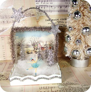 Tiny ice skater shadow box by Rhea