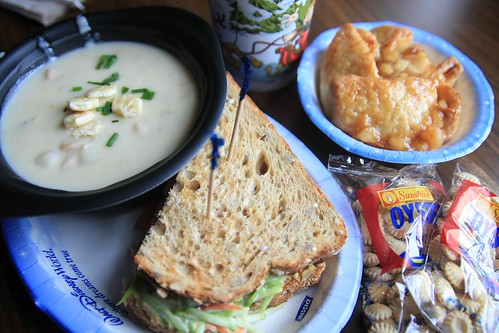 Half Sandwich, New England Clam Chowder and Apple Crisp!