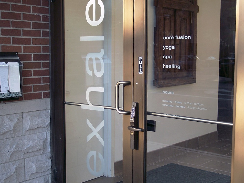 Frosted glass vinyl graphics privacy film impact signs for Office glass door entrance designs