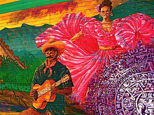 Spanish mural in denver at benny 39 s mexican restaurant for Mural z papiezem franciszkiem