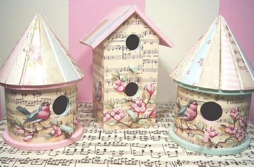 Hand Painted Collaged Springtime birdhouses