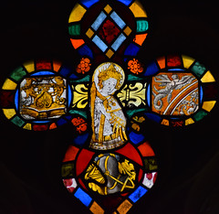 East Anglian angel playing a harp (15th Century) with fragments of Continental glass (17th Century)