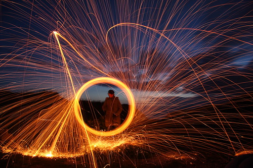 Night photography - Spinning burning wire wool