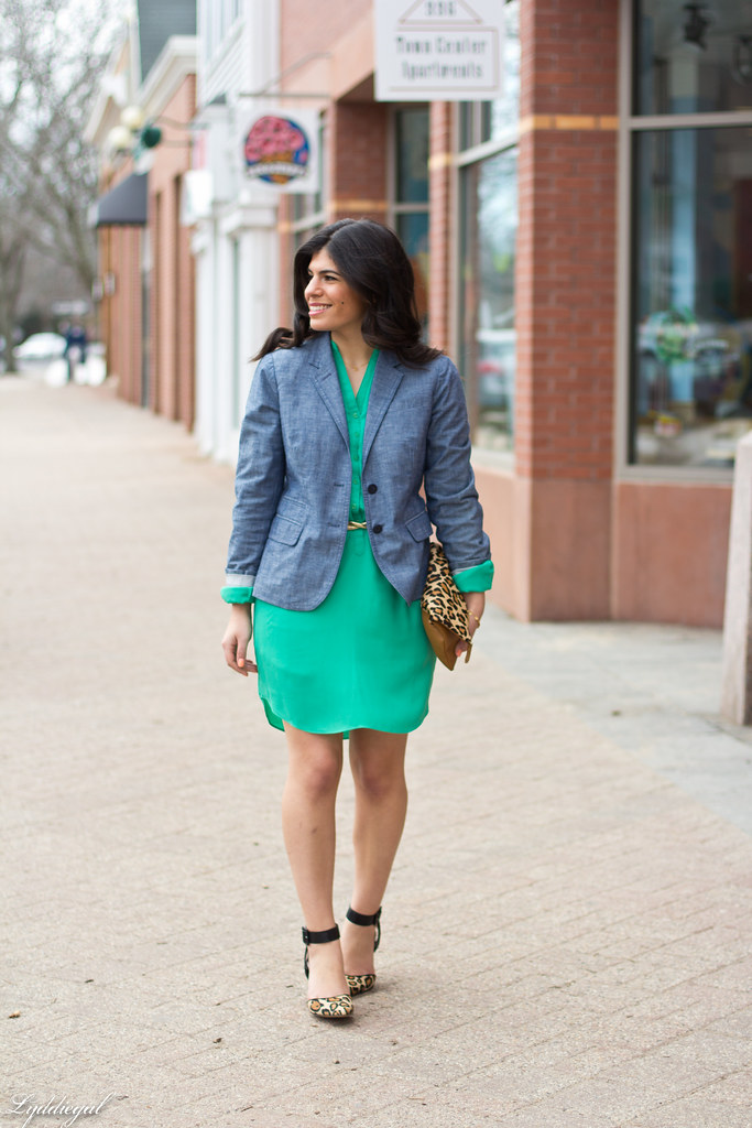 Emerald Dress, Chambray Blazer, Leopard-3.jpg
