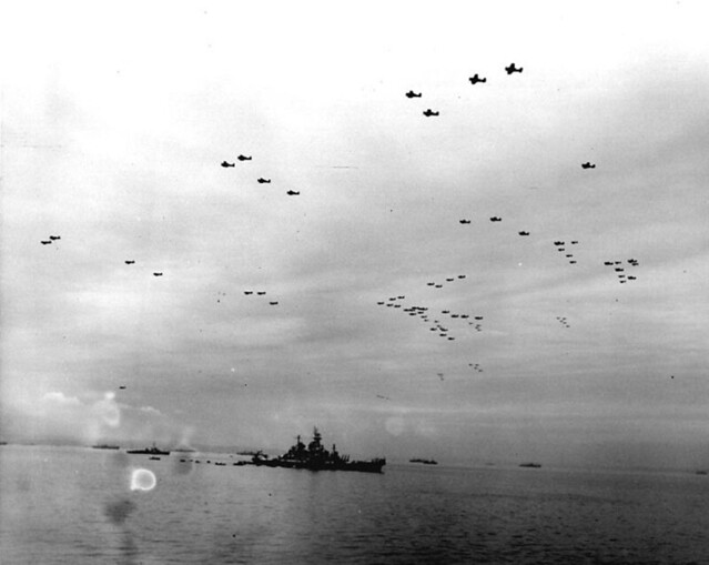 surrender_24 A formation of 450 US Navy aircraft fly over Tokyo Bay and the USS Missouri BB-63 following the surrender ceremony