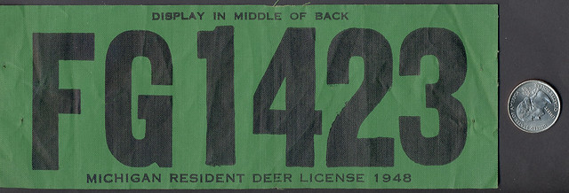 1948 michigan resident deer hunting license backtag large for Michigan non resident fishing license