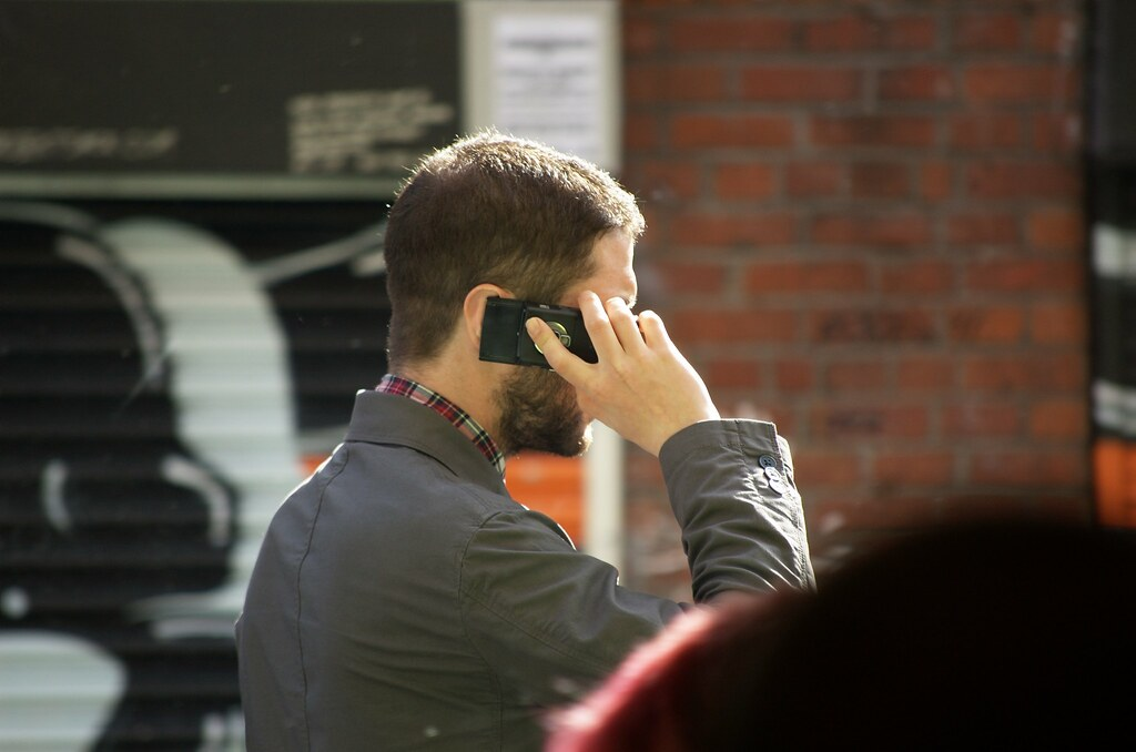 On the phone @ Manchester, UK