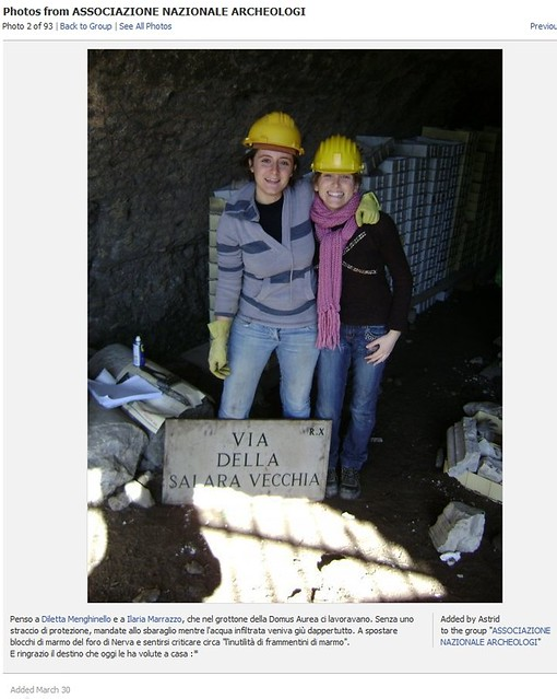 ROME - THE IMPERIAL FORA: ARCHAEOLOGICAL EXCAVATIONS & RELATED STUDIES (1995-2009). THE FORUM OF NERVA (1995-97 / 1998-2001 / 2004-onwards). Rome - Italian archaeologists Diletta Menghinello & Ilaria Marrazzo (foto: Dott.ssa Astrid D'Eredità, March 2010).
