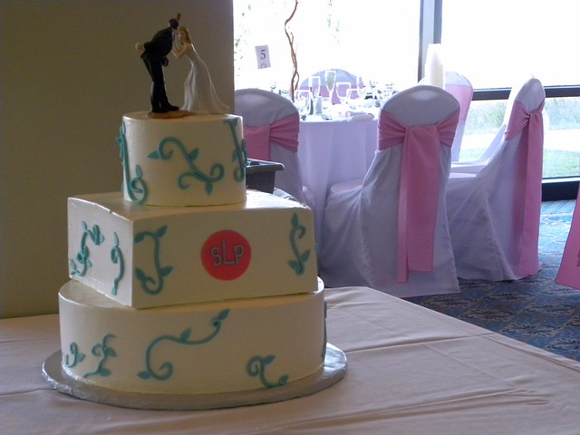 Teal Scroll Wedding Cake