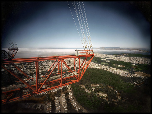 Sutro Tower - from the Catwalk on the West facing structure; viewing North to Golden Gate Bridge and Marin Headlands