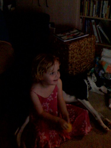Leah watching O Brother, Where Art Thou