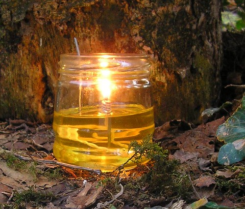 Home made vegetable oil lamp