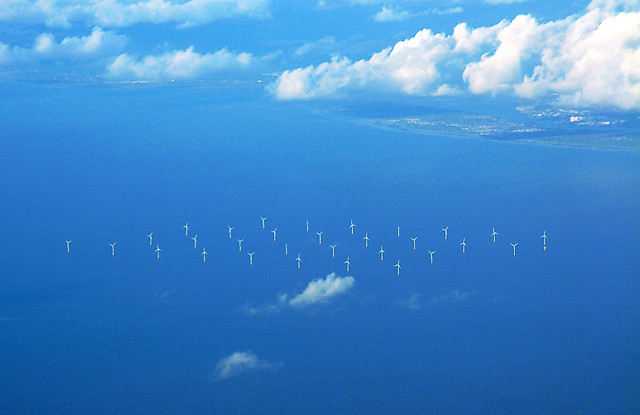 Barrow Offshore wind farm from the air
