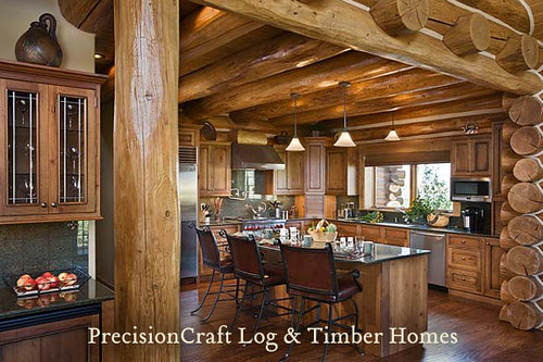 Handcrafted Log Home Kitchen Built In Idaho