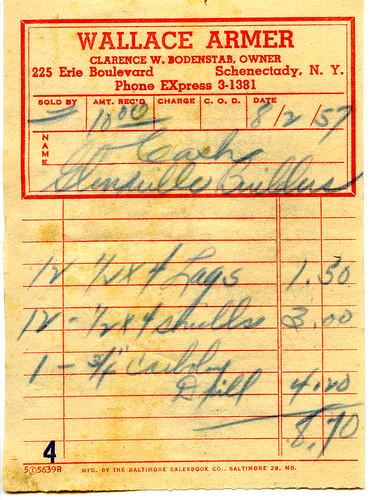 Wallace Armer receipt