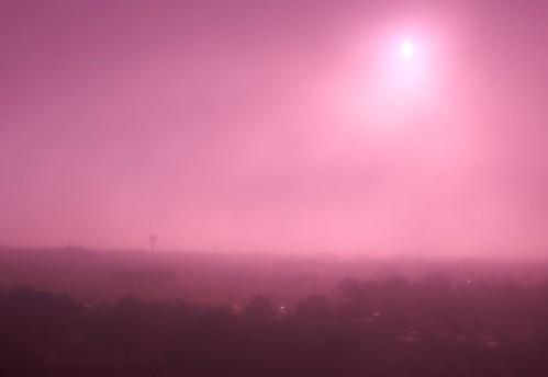 pink sun fog landscape