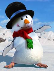 bird(0.0), penguin(1.0), flightless bird(1.0), stuffed toy(1.0), snowman(1.0), toy(1.0),