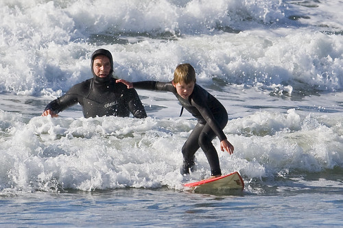 Father and son surf lesson in Morro Bay, CA 1 of 12