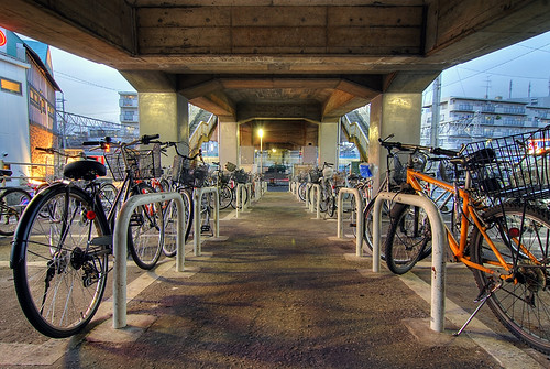 Bicycles under the bridge
