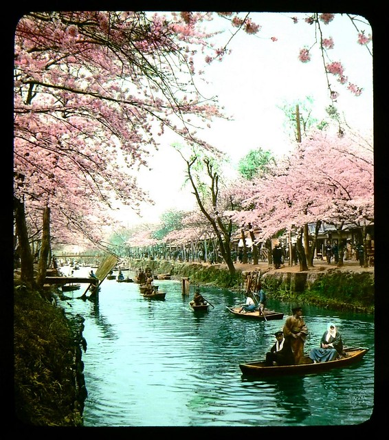 THEN AND NOW AT THE RUSTIC EDOGAWA PARK IN TOKYO -- The Locals Enjoy Pleasure-Boating on a Fine Spring Day