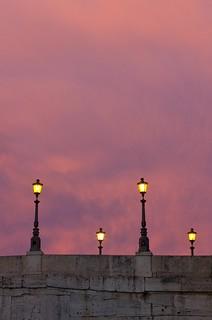 4 lampioni su Ponte Cestio a Roma...