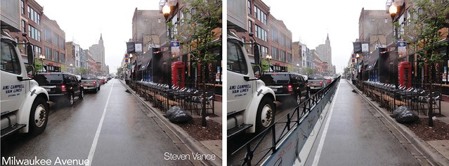 Before and After, Milwaukee protected bike lane