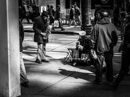 Sax in Public Places. Pike St. Seattle.