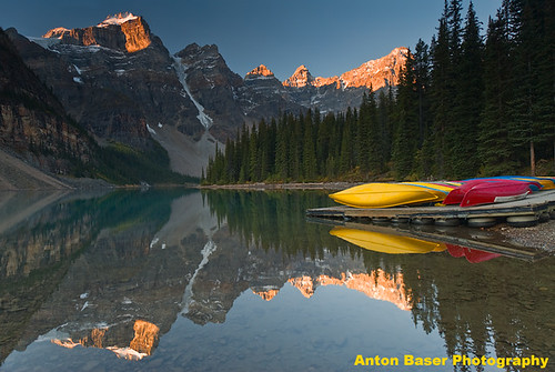 Moraine Lake Sunrise with Canoes, Banff NP, Canada