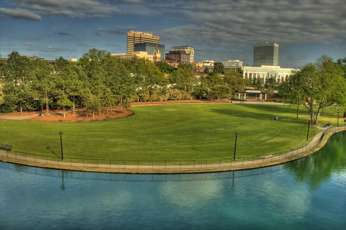 park city blue trees sky green sc grass skyline clouds skyscraper buildings river cityscape bright horizon southcarolina columbia capitol saturation curve hdr curvature columbiasc sici finlaypark