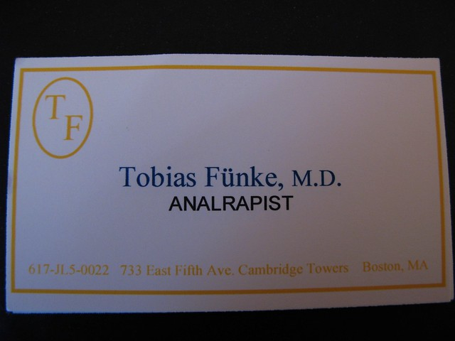 Tobias funke39s business cards the world39s first for Tobias business card