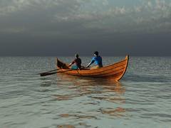 rowing(0.0), long-tail boat(0.0), kayaking(0.0), sea kayak(0.0), canoe(1.0), vehicle(1.0), sea(1.0), watercraft rowing(1.0), boating(1.0), watercraft(1.0), boat(1.0), paddle(1.0),